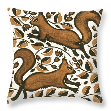 Beechnut Squirrels Throw Pillow by Nat Morley