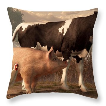 Beef Pork And Poultry  Throw Pillow by Daniel Eskridge