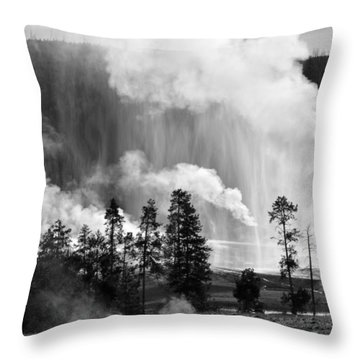 Beehive Geyser Shower In Black And White Throw Pillow by Bruce Gourley