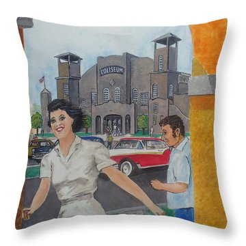 Been Skating At The Roller Rink Davis Islands Coliseum Late 50s Early 60s Throw Pillow by Frank Hunter