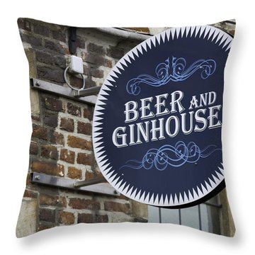 Beer And Ginhouse Throw Pillow by David Freuthal