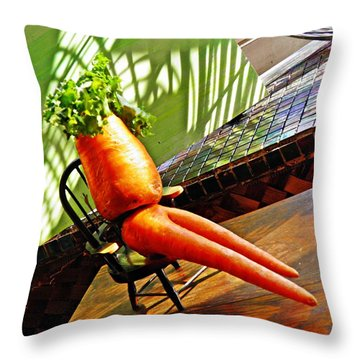 Beer Belly Carrot On A Hot Day Throw Pillow