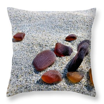 Throw Pillow featuring the photograph Beer Bottle Sea Glass by Janice Drew