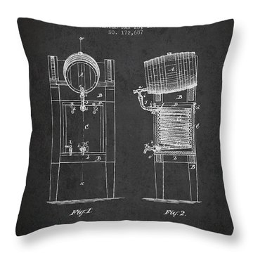 Beer Cooler Patent Drawing From 1876 - Dark Throw Pillow