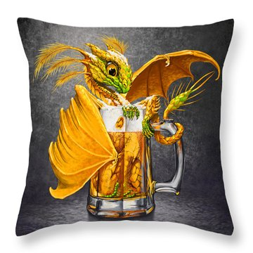 Beer Dragon Throw Pillow