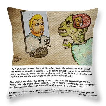 Beer Drinker In The Mirror Throw Pillow