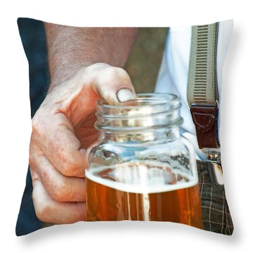 Beer He Drank Throw Pillow by Gwyn Newcombe