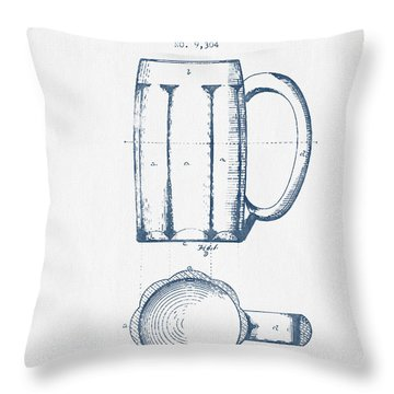Beer Mug Patent From 1876 -  Blue Ink Throw Pillow