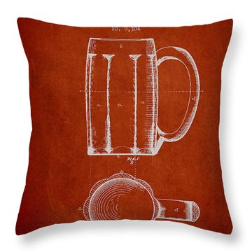 Beer Mug Patent From 1876 - Red Throw Pillow by Aged Pixel