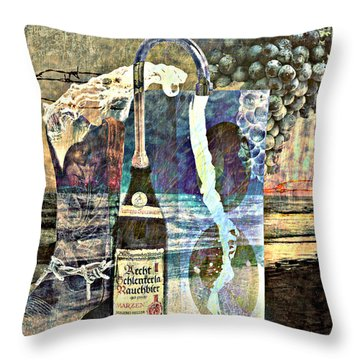 Throw Pillow featuring the mixed media Beer On Tap by Ally  White