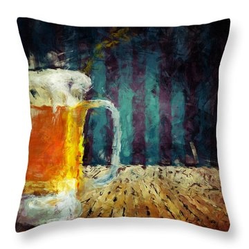 Beer Time Throw Pillow by Adam Vance