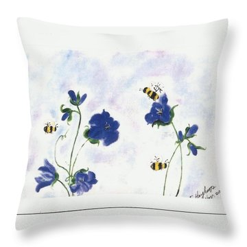 Bees At Lunch Time Throw Pillow