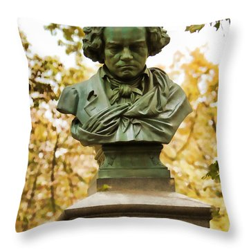 Beethoven In Central Park Throw Pillow by Alice Gipson