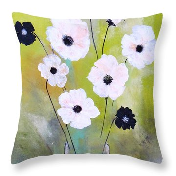 Beetle Flowers Throw Pillow by France Laliberte