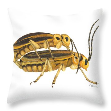Chrysomelid Beetle Mating Pose Throw Pillow