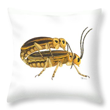 Chrysomelid Beetle Mating Pose Throw Pillow by Cindy Hitchcock