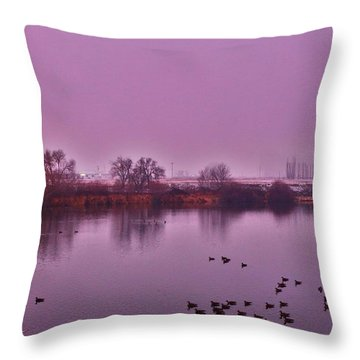 Throw Pillow featuring the photograph Before Sunrise On The Bridge by Lynn Hopwood