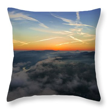 Before Sunrise On The Lilienstein Throw Pillow