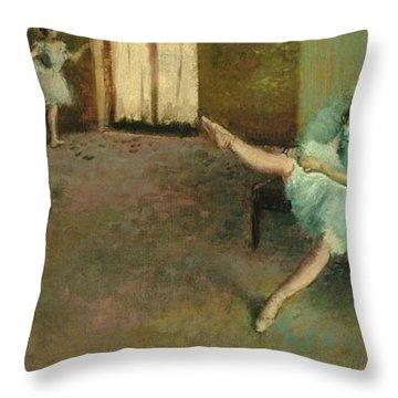 Before The Ballet Throw Pillow by Edgar Degas