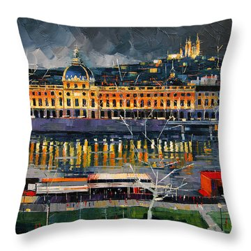 Before The Storm - View On Hotel Dieu Lyon And The Rhone France Throw Pillow