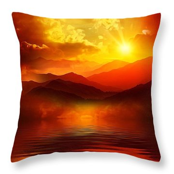 Throw Pillow featuring the mixed media Before The Sun Goes To Sleep by Gabriella Weninger - David