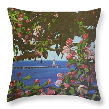 Beginnings Of Summer At The Waterfront Throw Pillow by Wendy Shoults