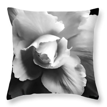 Begonia Flower Monochrome Throw Pillow