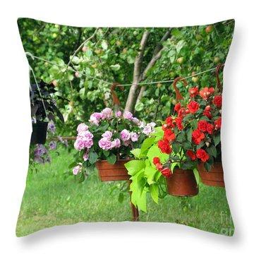 Begonias On Line Throw Pillow