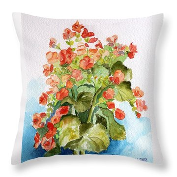 Begonias Still Life Throw Pillow by Geeta Biswas