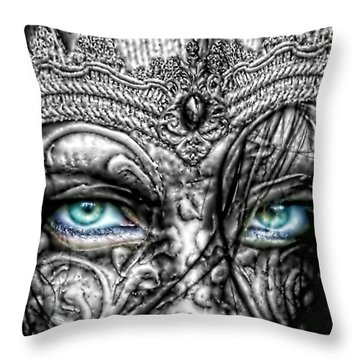Behind Blue Eyes Throw Pillow by Mo T