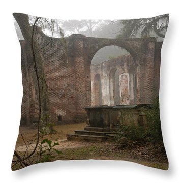 Behind Old Sheldon Church Throw Pillow