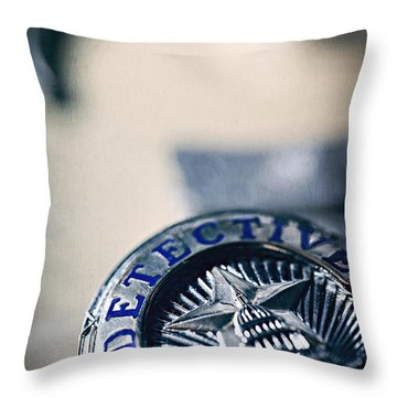 Throw Pillow featuring the photograph Behind The Badge by Trish Mistric