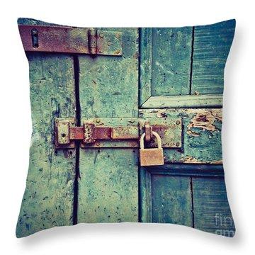 Behind The Blue Door Throw Pillow