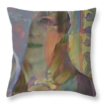 Throw Pillow featuring the digital art Behind The Curtain by Ursula Freer