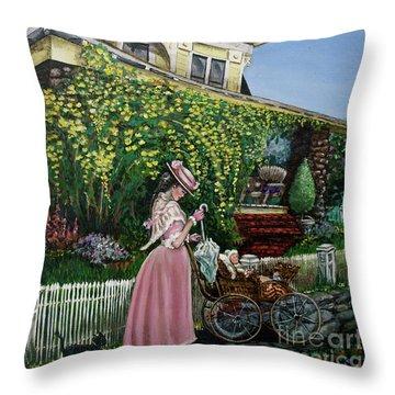 Behind The Garden Gate Throw Pillow by Linda Simon