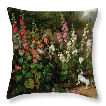 Behind The Hollyhocks Throw Pillow by Charles Hunt