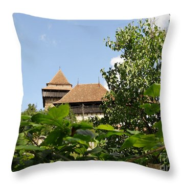 Throw Pillow featuring the photograph Behind The Leaves by Ramona Matei