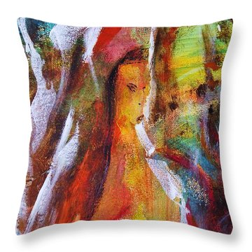 Behind The Mirror Woman Throw Pillow