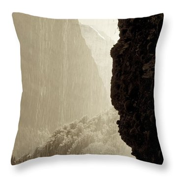 Behind The Waterfall Throw Pillow by Colleen Williams