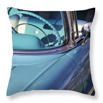 Behind The Wheel Throw Pillow by Luke Moore