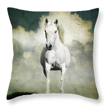 Behold A White Horse Throw Pillow by Karen Slagle