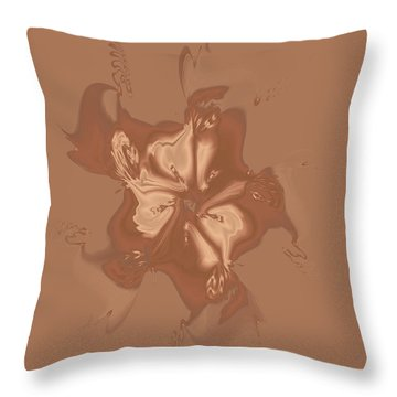 Beige Satin Morning Glory Throw Pillow