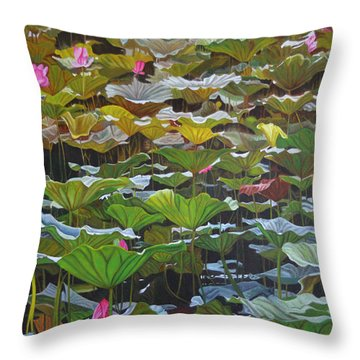 Throw Pillow featuring the painting Beijing In August by Thu Nguyen