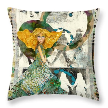 Throw Pillow featuring the mixed media Being A Girl by P Maure Bausch