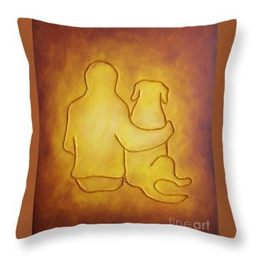 Being There 2 - Dog And Friend Throw Pillow