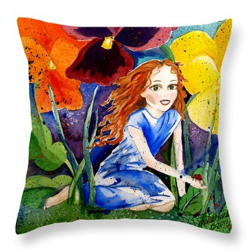 Tiny Flower Fairy Throw Pillow