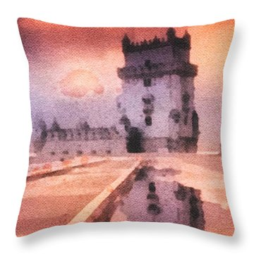Belem Tower Throw Pillow by Mo T
