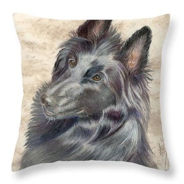 Belgian Sheepdog Throw Pillow by Ruth Seal