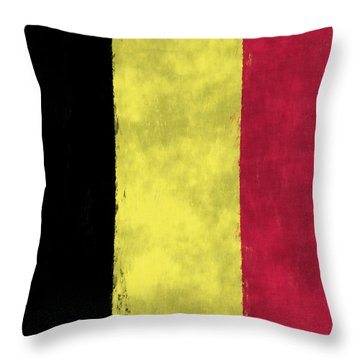 Belgium Flag Throw Pillow by World Art Prints And Designs