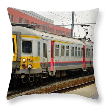 Belgium Railways Commuter Train At Brugge Railway Station Throw Pillow